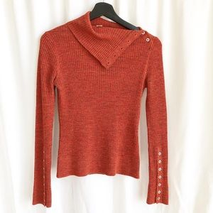 Free People orange cowl neck ribbed fitted knit